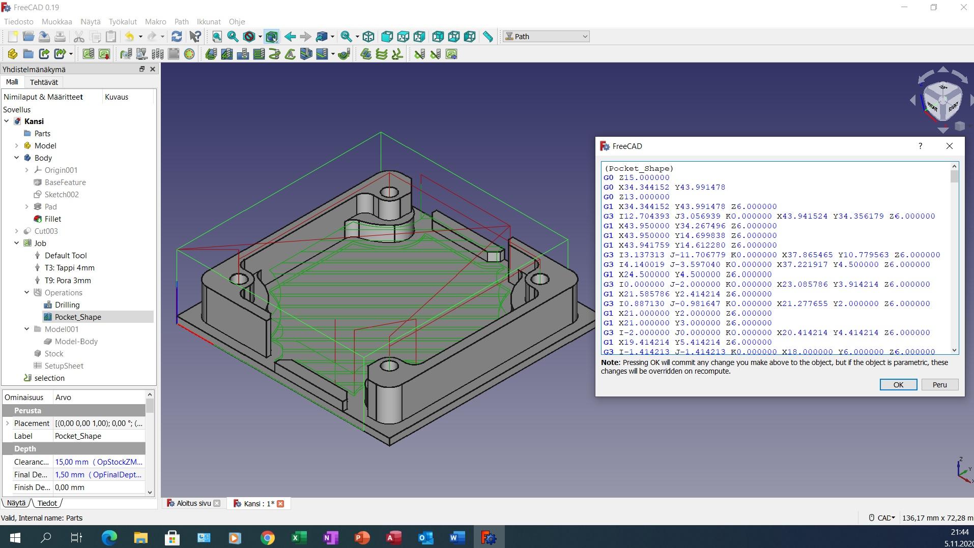 FreeCAD 3D- mallinnus